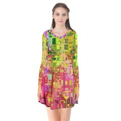 Color Abstract Artifact Pixel Long Sleeve V Neck Flare Dress