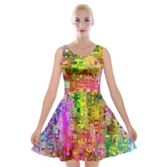 Color Abstract Artifact Pixel Velvet Skater Dress