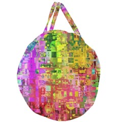 Color Abstract Artifact Pixel Giant Round Zipper Tote