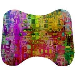 Color Abstract Artifact Pixel Head Support Cushion