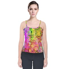 Color Abstract Artifact Pixel Velvet Spaghetti Strap Top