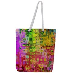 Color Abstract Artifact Pixel Full Print Rope Handle Tote (large) by Nexatart
