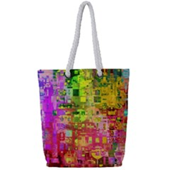 Color Abstract Artifact Pixel Full Print Rope Handle Tote (small) by Nexatart