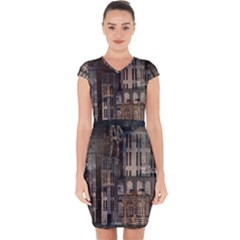 Architecture City Home Window Capsleeve Drawstring Dress