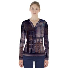 Architecture City Home Window V Neck Long Sleeve Top