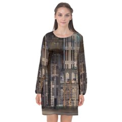 Architecture City Home Window Long Sleeve Chiffon Shift Dress