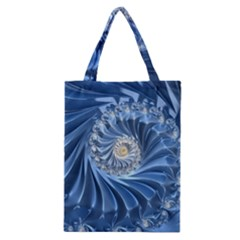 Blue Fractal Abstract Spiral Classic Tote Bag by Nexatart