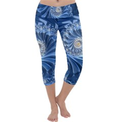 Blue Fractal Abstract Spiral Capri Yoga Leggings
