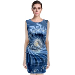 Blue Fractal Abstract Spiral Classic Sleeveless Midi Dress