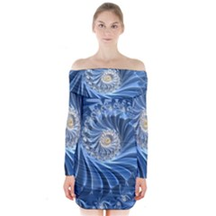 Blue Fractal Abstract Spiral Long Sleeve Off Shoulder Dress
