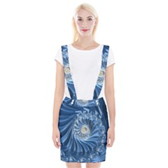 Blue Fractal Abstract Spiral Braces Suspender Skirt