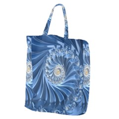 Blue Fractal Abstract Spiral Giant Grocery Tote