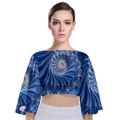 Blue Fractal Abstract Spiral Tie Back Butterfly Sleeve Chiffon Top