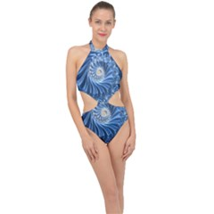 Blue Fractal Abstract Spiral Halter Side Cut Swimsuit by Nexatart