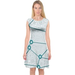 Network Social Abstract Capsleeve Midi Dress