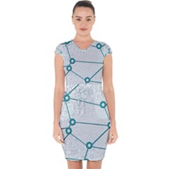 Network Social Abstract Capsleeve Drawstring Dress