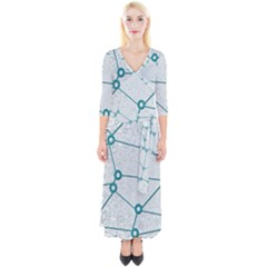 Network Social Abstract Quarter Sleeve Wrap Maxi Dress