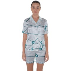 Network Social Abstract Satin Short Sleeve Pyjamas Set