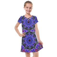 Purple Kaleidoscope102 Kids  Cross Web Dress