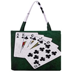 Poker Hands   Royal Flush Clubs Mini Tote Bag by FunnyCow
