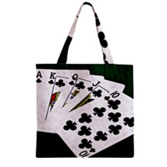 Poker Hands   Royal Flush Clubs Zipper Grocery Tote Bag by FunnyCow