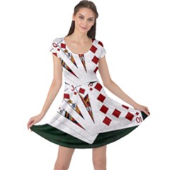Poker Hands   Royal Flush Diamonds Cap Sleeve Dress by FunnyCow