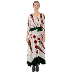 Poker Hands   Royal Flush Diamonds Button Up Boho Maxi Dress by FunnyCow