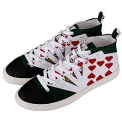 Poker Hands   Royal Flush Hearts Men s Mid-top Canvas Sneakers by FunnyCow