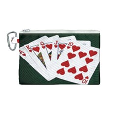 Poker Hands   Royal Flush Hearts Canvas Cosmetic Bag (medium)