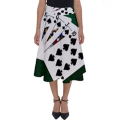 Poker Hands   Royal Flush Spades Perfect Length Midi Skirt by FunnyCow