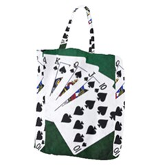 Poker Hands   Royal Flush Spades Giant Grocery Tote by FunnyCow