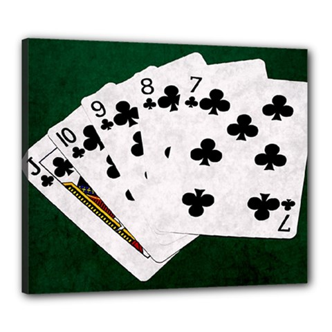 Poker Hands   Straight Flush Clubs Canvas 24  X 20  by FunnyCow