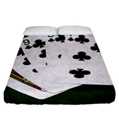 Poker Hands   Straight Flush Clubs Fitted Sheet (california King Size) by FunnyCow