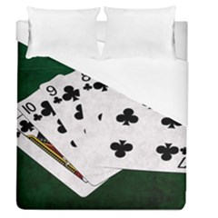 Poker Hands   Straight Flush Clubs Duvet Cover (queen Size) by FunnyCow