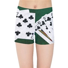 Poker Hands   Straight Flush Clubs Kids Sports Shorts by FunnyCow