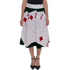 Poker Hands   Straight Flush Diamonds Perfect Length Midi Skirt by FunnyCow