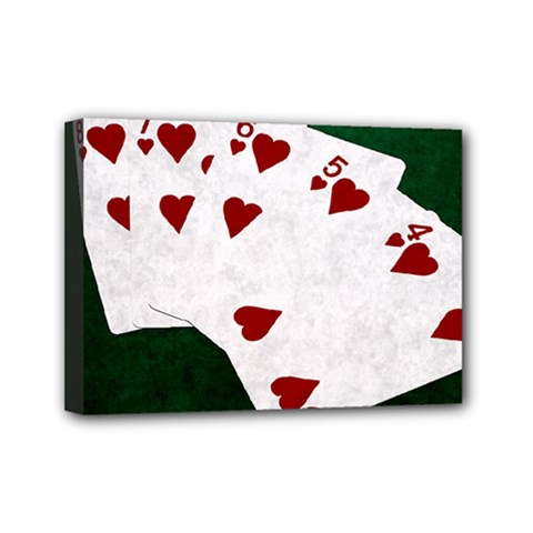 Poker Hands Straight Flush Hearts Mini Canvas 7  X 5  by FunnyCow