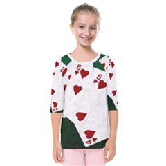Poker Hands Straight Flush Hearts Kids  Quarter Sleeve Raglan Tee by FunnyCow