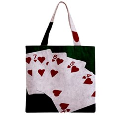 Poker Hands Straight Flush Hearts Zipper Grocery Tote Bag by FunnyCow