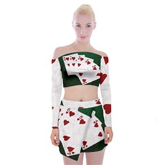 Poker Hands Straight Flush Hearts Off Shoulder Top With Mini Skirt Set
