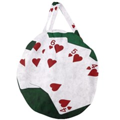 Poker Hands Straight Flush Hearts Giant Round Zipper Tote by FunnyCow
