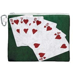 Poker Hands Straight Flush Hearts Canvas Cosmetic Bag (xxl) by FunnyCow