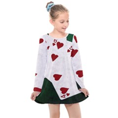 Poker Hands Straight Flush Hearts Kids  Long Sleeve Dress by FunnyCow