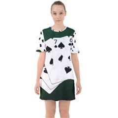 Poker Hands Straight Flush Spades Sixties Short Sleeve Mini Dress by FunnyCow