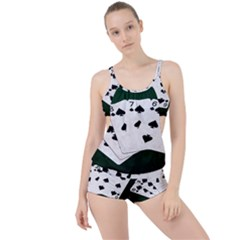 Poker Hands Straight Flush Spades Boyleg Tankini Set