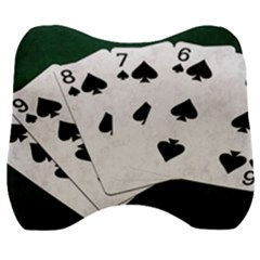 Poker Hands Straight Flush Spades Velour Head Support Cushion by FunnyCow