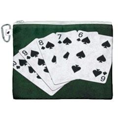 Poker Hands Straight Flush Spades Canvas Cosmetic Bag (xxl) by FunnyCow