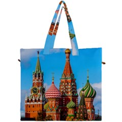 Moscow Kremlin And St  Basil Cathedral Canvas Travel Bag