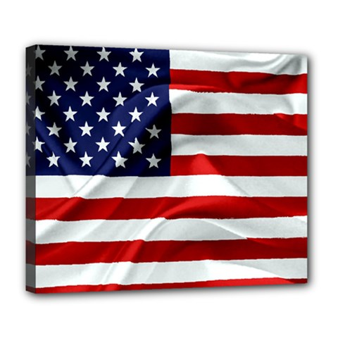 American Usa Flag Deluxe Canvas 24  X 20   by FunnyCow