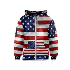 American Usa Flag Kids  Zipper Hoodie by FunnyCow